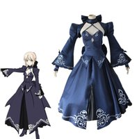 Wholesale Lolita Anime Costume - Alter black Saber Cosplay Fate Stay Night Costume Saber Fate Zero Sword Cosplay Dress Artoria Pendragon Halloween Lolita skirt