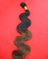 Wholesale Two Tone Human Braiding Hair - Wholesale-New T1b 8 Ombre Braiding Hair Wavy 100g Black and Brown Two Tone Braiding Hair 7A Brazilian Body Wave Human Braiding Hair Bulk