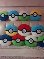Wholesale Child Plush Car Pillow - Children christmas gift pikachu plush toys Pokémon cushions sofa car pillows 7 different style 32cm round ball cushions