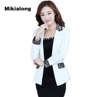 Wholesale Korean Office Wear - Mikialong 2017 Lace Patchwork Ladies Suit Women Blazer Femme Korean Fashion Ruffle Formal Women Jacket Office Wear Blazer Mujer