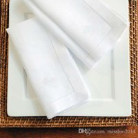 Wholesale Natural PolyCotton White Hemstitch Napkins CUSTOM MADE ZJ01