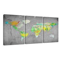 3 Panneaux d'Art Murale -Vintage World Map Canvas Prints - Encadré et Prêt à Hang - Haute Qualité Toile Wall Picture Modern Home Decor