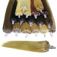 extensions de cheveux micro loop marron achat en gros de-100g / lot Micro Anneau Boucle Extensions de Cheveux Humains Brésiliens Tout Droit 100strands # 1 # 1B Noir # 8 # 10 Marron # 27 # 60 # 613 Blonde # 99J