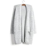 kadınlar için hırka stilleri toptan satış-Kazak Kadın Ceket Moda Sonbahar Kış Kalın Sıcak Hırka Tutmak Yeni Lady Kazak Gri Uzun Tarzı Örgü Katı Cep Boy 5XL