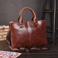 Wholesale Laptop Hand Bag Briefcase Messenger - 2017 New Fashion Brand Genuine Leather Briefcase Bag Men Travel Shoulder Bag Messenger Bags Man Business Hand Bag Laptop Tote Bags Handbags