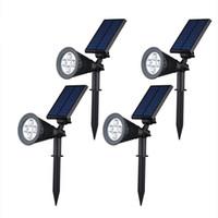 Wholesale Portable Rechargeable Spotlight - Outdoor Waterproof Led Solar Spotlight Adjustable Angle 4leds Solar Rechargeable Garden Lawn Lamp Landscape Spot Lights
