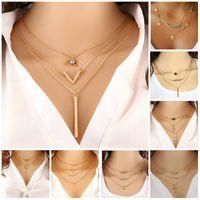 quaste großhandel-Ziemlich Choker Collier Halsketten Boho Perlen Diamant Kette Mehrschichtige Halsketten Für Frauen Männer Bar Layered Quaste Metall Gold Kette Halskette