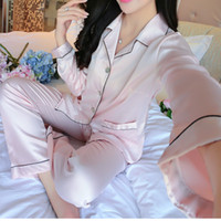 Wholesale sleepwear pants women - Wholesale- New 2017 Women Ladies Satin Silk Pajamas Sets Autumn Winter V Neck Long Sleeve Tops+Pants Sleepwear Nightwear Set pyjama femme