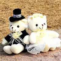 Wholesale Teddy Bear Marriage - size 35 cm 2 piece lot cartoon wedding dress bear plush toy boy girl marriage wedding Christmas valentine's gift