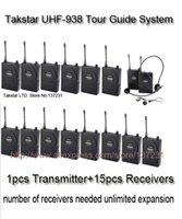 Wholesale Guide Systems - Cheaper Takstar UHF-938 UHF frequency Wireless Tour Guide System 50m Operating Range 1 Transmitter+15Receivers for Tour guiding
