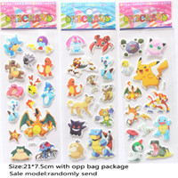 Wholesale Children Bedrooms Lighting - DHL New Poke Stickers Pikachu Pocket Monster 3D Scrapbooking Puffy Sticker Sheet UV Wallpaper Nursery Children Kids Room Bedroom Wall HH-S25