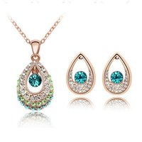 Wholesale Aqua Jewelery - Fashion Bridal Jewelry Sets Hot Sale Classic White  Gold Plated Water Drop Crystal Rhinestone Earrings Necklaces jewelery Set