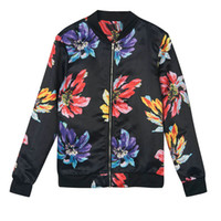 Women Black Floral Rib à manches longues Wide Waisted Zip Front Casual Pilot Bomber Jacket 2016 Autumn Vintage Patchwork Basic Coats