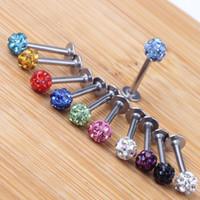 Body Jewelry Tragus Earring 20pcs lot Mix 10 Colors 6-12mm Shamballa Ball CZ Gem Disco 3.5mm Body Jewelry Lip Ring Labret Piercing