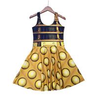 Wholesale Digital Printing Dress - NEW 1196 Plus Size Girl Women Summer Doctor Who Golden The Daleks tardis 3D Digital Prints Reversible Sleeveless Skater Pleated Dress