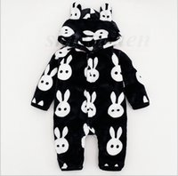 Wholesale Wholesale Baby Jumpsuits - Kids INS Jumpsuits Flannel Jumpsuits Ins Baby One-Piece Romper Ins Onesies Fashion Bodysuit INS Jumpers Clothes Pajamas Hoodies Coat A860 40