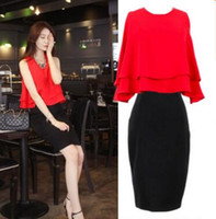 Wholesale Midi Dresses Online - 2016 woman skirt set elegant two piece set o-neck sleeveless women office dress online shop clothing ED F6404