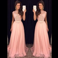 Wholesale Long Flowing Dresses Sexy - 2018 Fancy New Pink Chiffon Long Prom Dresses Illusion Lace Top Flow Chiffon Floor Length Evening Vestidos De Fiesta Party Dresses with Belt