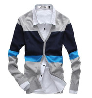 block sweater - Autumn and winter fashion color block stripe casual men sweater cardigan Men s knitted v neck sweater