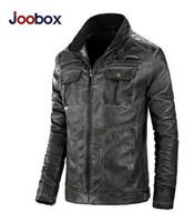 Wholesale Overcoat Pu - JOOBOX Winter Jackets Outerwear For Men Motorcycle Leather Jacket Fashion Vintage PU Leather Jackets Casual Parka Overcoat