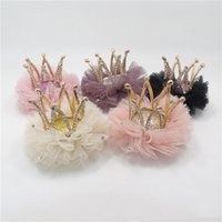 Wholesale Crystals Tiara Birthday - Shinny Party Favor Luxury High Quality Metal Crown Hair Clip with Clear Rhinestone Tulle Pink Cream Crystal Tiara Barrette Birthday Gift