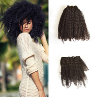 Wholesale realistic products - Woman kinky curly clip in on realistic human natural hair extensions 12 pcs set ,G-EASY Hair Products