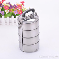 Wholesale Food Packaging Jars - Round Silver Bento Lunch Box Stainless Steel Multi Layers Food Jar Thermal Insulated Durable Lunchbox Simple 9js J R