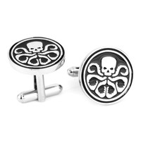 Wholesale Skull Cuff Links - High Quality Superhero Avengers Hydra Skull Cufflinks For Mens Punk Style Brand Cuff Buttons High Quality Cuff Links Jewelry Hot