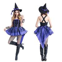 Wholesale Women S Bar Uniforms - Halloween Halloween purple tuxedo witch witch outfit Nightclubs uniform bar Halloween party