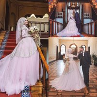 Wholesale Tier Collared Shirt - 2017 New Pink Saudi Arabic Muslim Wedding Dresses Dubai High Neck Lace Gold Embroidery A-line Tiers Sweep Train Bridal Gowns with Bow Belt