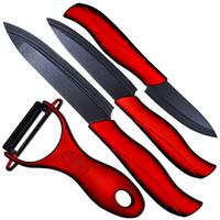 """Wholesale Ceramic Knife Set Red - Black ceramic 4pieces set knife 3"""" paring 4"""" utility 5"""" slicing knife and one black balde+red handle peeler kitchen knives set"""