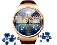 ogs ekranı toptan satış-Kalp Hızı Monitörü Akıllı İzle KW18 SIM TF Smartwatch Android 2.5D OGS Dokunmatik Ekran Akıllı Kol Saati Bluetooth Facebook Buit