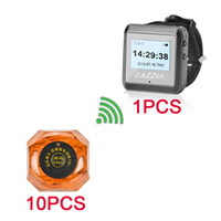 Wholesale Buttons Restaurant - Wireless Paging System Waiter Pagers For Restaurant Kitchen Hotel KTV Service Wrist Watch Guest Calling System 10 Calling Button 1 Watch