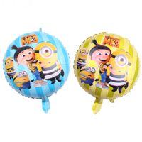 Wholesale Baby Blue Balloons - 50pcs lot New 18 inch small yellow series aluminum balloon baby birthday party layout decorative balloons