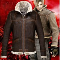 Wholesale Collar Leon - Fall-2016 New Resident Evil Leon S Kennedy Cosplay Zipper Jacket Coat Stand Collar Leather