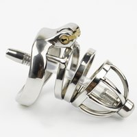 Wholesale Steel Lock Urethral Sound - Small Male Chastity Device Stainless Steel Cock Cage With Removable Urethral Sounding Catheter BDSM Sex Toys For Men Penis Lock