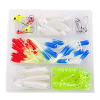 Soft Worm Lure Carp Fishing Lure Set + 10 Lead Head Jig Hooks Simulação Suite Pesca Iscas Pesca Tackle Venda por atacado 2508002