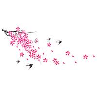 Wholesale Bird Design Wallpaper - Beautiful Design Tree Branch Leaves Flower Bird Wall Stickers Wallpaper Excellent Quality