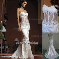 Wholesale Gown Bridal Crystal Corset Dress - Mermaid Wedding Dresses Strapless See Through Corset with lace Appliqued Beaded Custom Made Real Photo Bridal Gown