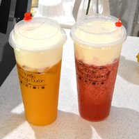 Wholesale Disposable Plastic Tea Cups - Disposable Plastic Cups Cold Drink Juice Thicken Drink Cup Plastic Milky Tea Cups With Lids White Black Transparent 500Ml 100Pcs Set