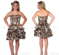 Wholesale Strapless Sweetheart Short Bridesmaids Dress - 2016 New Stylish Strapless Ball Gown Cheap Camo Short Bridesmaid Dresses Lace Up Mini Cocktail Dress Graduation Dress Short Prom Gown BO7650