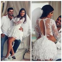 Wholesale Long Sleeve Arabic Dresses Online - 2017 Lace Short Wedding Dresses Middle East Full Lace Dubai Arabic Bridal Gowns Custom Online