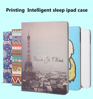 Wholesale Ipad Mini Eiffel - Cartoon Eiffel Tower Grils whale Printing PU Leather Case For ipad mini 1 2 3 ipad 2 3 4 ipad air 1 2 With Intelligent sleep Flip Stand Cove