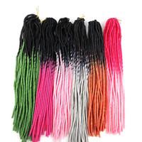 Wholesale ombre kanekalon braiding hair resale online - Ombre Faux Locs Crochet braiding hair pieces kanekalon Synthetic braids twist hair inch g two tone hair extensions