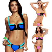 Wholesale Zip Bikini - PrettyBaby New Swimsuit Woman Sexy Swim Suit Women 2016 Bathing Suits Zip Decor Color Block Patchwork Swimwear Bikini Set