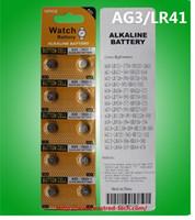 bateria da pilha botão lr41 venda por atacado-500 cartões (5000 pcs) / lote 0% Hb Pb AG3 LR41 pilha botão alcalina 1.5 v baterias de relógio, 10 PCS por Blister Cartão -RoHS CE
