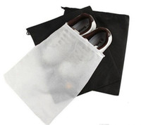Wholesale Dust Free Clothes - Promotion Non-woven Shoe Drawstring Travel Storage Shoe Dust-proof Tote Dust Bag Case Black White Pouch Tote Bag Dust-proof Shoe free fedex