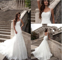 Wholesale Mermaid Wedding Dress Brush Train - 2016 Lorenzo Rossi Sheer Lace Wedding Dresses Spaghetti Traps Backless Brush Train with Embroidery Appliqued Beach Bridal Gowns BA3497