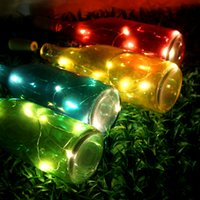 Wholesale Colourful Lights - Christmas Decoration Solar Table Light Outdoor LED Garden Lights Colourful Glass Bottles Romantic Birthday Gift Wedding Decoration