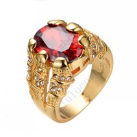 Gros-Taille 8/9/10/11/12 Le Shining Red Ring CZ Ruby mariage 14KT or jaune Rempli Hommes Mode Bagues de fiançailles New Style RY0005
